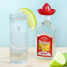 Hampers and Gifts to the UK - Send the Personalised Tequila Shot Glass and Miniature Tequila