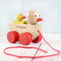 Hampers and Gifts to the UK - Send the Personalised Duck and Duckling Wooden Toy