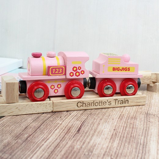 Hampers and Gifts to the UK - Send the Personalised Pink ABC Engine and Track
