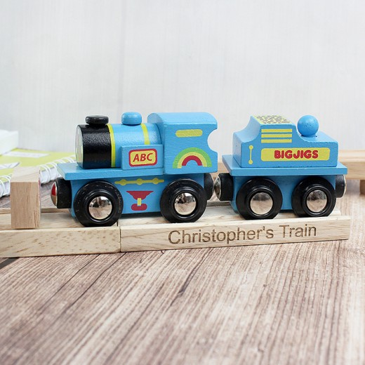 Hampers and Gifts to the UK - Send the Personalised Blue ABC Engine and Track