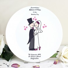 Hampers and Gifts to the UK - Send the Personalised Wedding Cartoon Plate