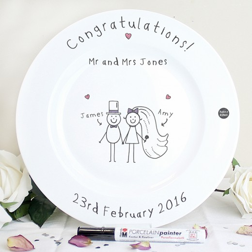 Hampers and Gifts to the UK - Send the Personalised Purple Ronnie Wedding Message Plate