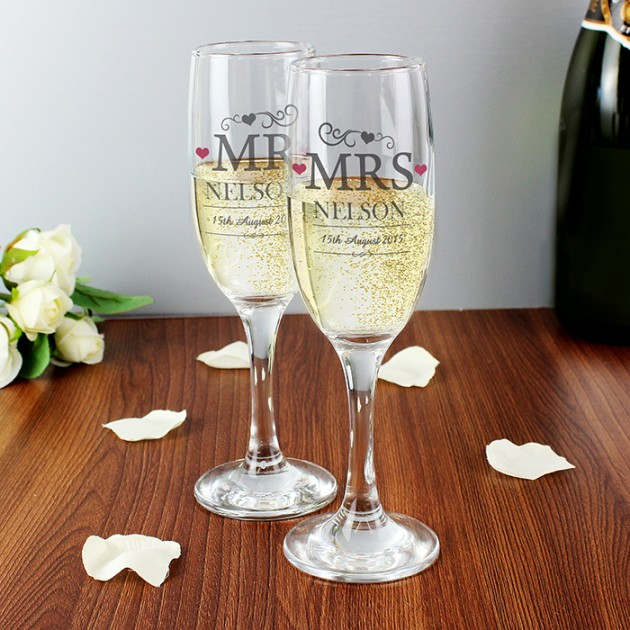Hampers and Gifts to the UK - Send the Mr and Mrs Personalised Champagne Flutes