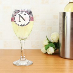 Hampers and Gifts to the UK - Send the Personalised Houndstooth Wine Glass