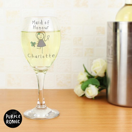 Hampers and Gifts to the UK - Send the Personalised Purple Ronnie Female Wedding Wine Glass