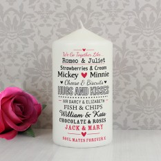 Hampers and Gifts to the UK - Send the Personalised Couples Candle