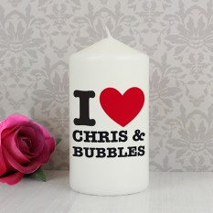 Hampers and Gifts to the UK - Send the Personalised I HEART Any Name Candle