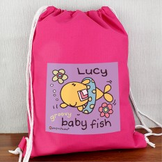Hampers and Gifts to the UK - Send the Personalised Bang On The Door Baby Fish Girls Swim bag