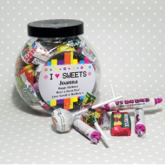 Hampers and Gifts to the UK - Send the Personalised Sweet Jar - I Love Sweets