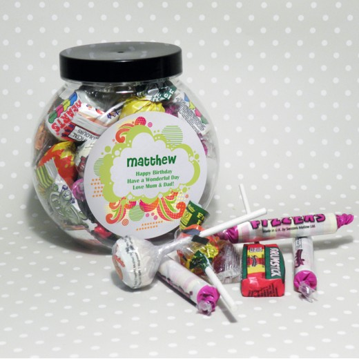 Hampers and Gifts to the UK - Send the Personalised Sweet Jar - Funky Swirl