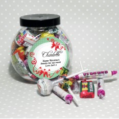 Hampers and Gifts to the UK - Send the Personalised Sweet Jar Red Ribbon