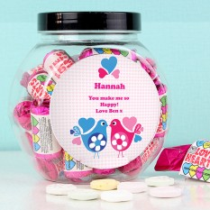 Hampers and Gifts to the UK - Send the Personalised Sweet Jar Love Birds