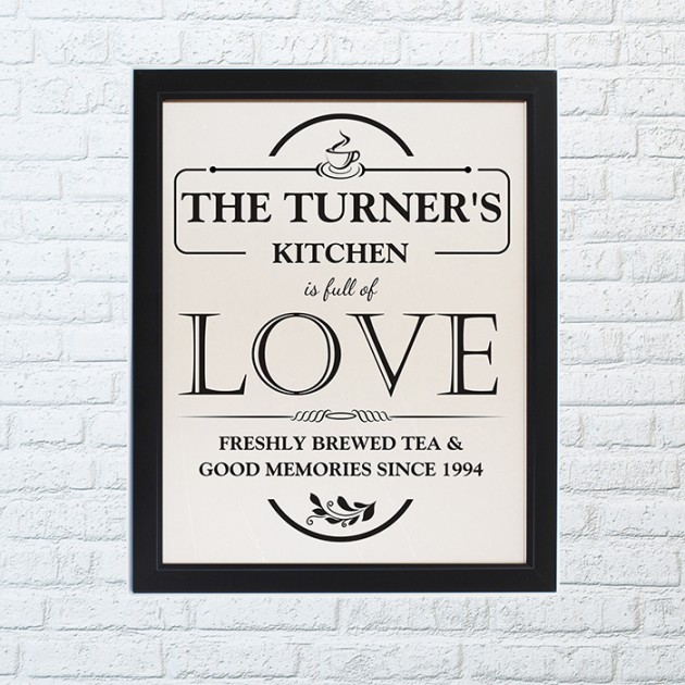 Hampers and Gifts to the UK - Send the Personalised Full of Love Framed Print