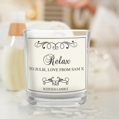 Hampers and Gifts to the UK - Send the Personalised THANK YOU Black Swirl Scented Jar Candle