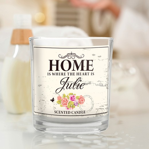 Hampers and Gifts to the UK - Send the Personalised NEW HOME Shabby Chic Scented Jar Candle