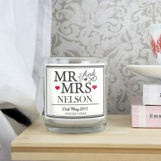 Hampers and Gifts to the UK - Send the Personalised WEDDING Mr and Mrs Scented Jar Candle