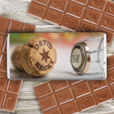 Hampers and Gifts to the UK - Send the Personalised Champagne Cork Chocolate Bar