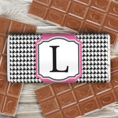 Hampers and Gifts to the UK - Send the Personalised Houndstooth Chocolate Bar