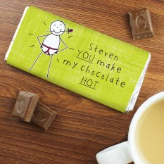 Hampers and Gifts to the UK - Send the Personalised Purple Ronnie You Make My Chocolate Hot... Chocolate Bar