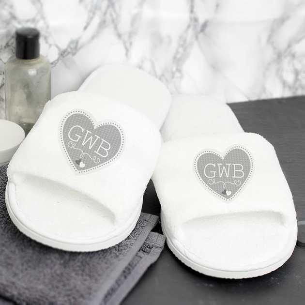 Hampers and Gifts to the UK - Send the Personalised Grey Heart Initials Velour Slippers