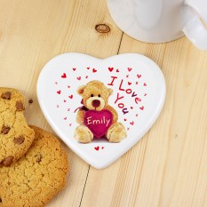 Hampers and Gifts to the UK - Send the Personalised Teddy Heart Coaster