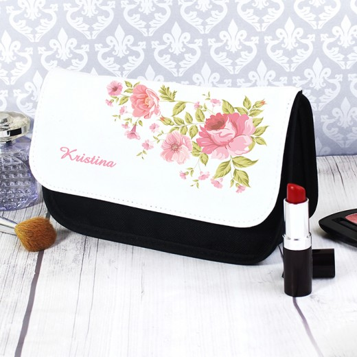 Hampers and Gifts to the UK - Send the Personalised Any Name Cosmetic Bag Rose