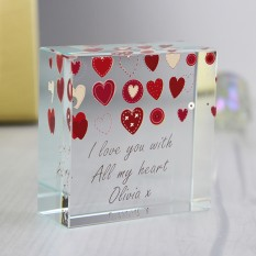 Hampers and Gifts to the UK - Send the Personalised Fabric Hearts Design Medium Crystal Token