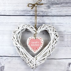 Hampers and Gifts to the UK - Send the Personalised Vintage Floral Wicker Heart Decoration