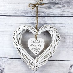 Hampers and Gifts to the UK - Send the Personalised Ornate Swirl Wicker Heart Decoration