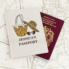 Hampers and Gifts to the UK - Send the Personalised Leopard Print Passport Holder