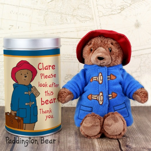 Hampers and Gifts to the UK - Send the Paddington Bear in a Tin - Personalised