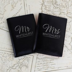 Hampers and Gifts to the UK - Send the Personalised Passport Cover - Mr and Mrs