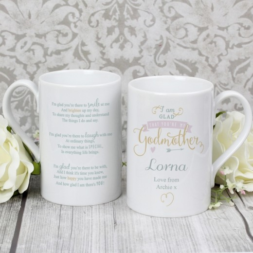 Hampers and Gifts to the UK - Send the I Am Glad... Godmother Personalised Mug