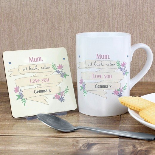 Hampers and Gifts to the UK - Send the Flower Mug and Coaster Set - Personalised