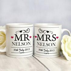 Hampers and Gifts to the UK - Send the Mr and Mrs Mugs - Personalised