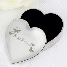 Hampers and Gifts to the UK - Send the Engraved Silver Heart Best Friend Trinket Box
