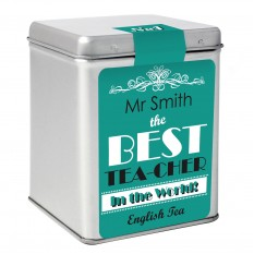 Hampers and Gifts to the UK - Send the Personalised Best Teacher Tea Caddy Gift