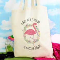 Hampers and Gifts to the UK - Send the Personalised Flamingo Cotton Tote Bag