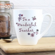 Hampers and Gifts to the UK - Send the Personalised Wonderful Teacher Latte Mug