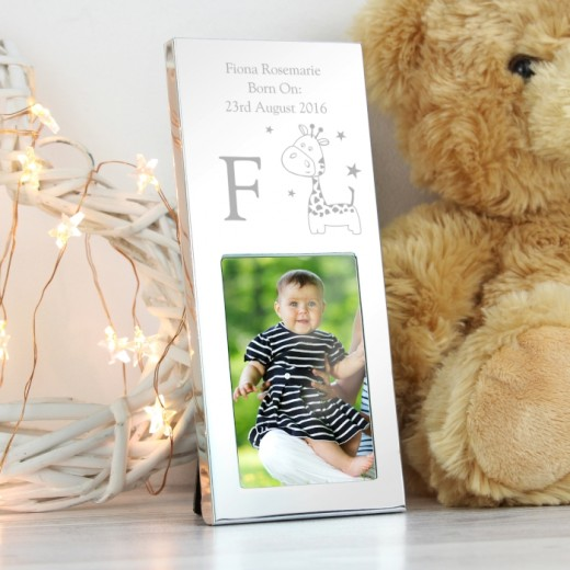Hampers and Gifts to the UK - Send the Personalised Cute Giraffe Silver Photo Frame