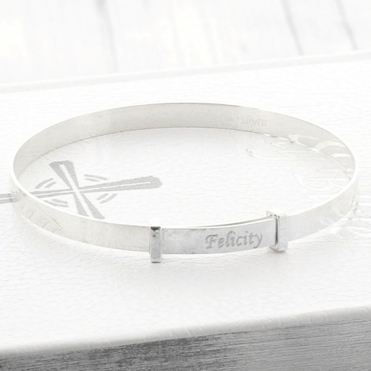 Hampers and Gifts to the UK - Send the Personalised Christening Expanding Silver Bracelet