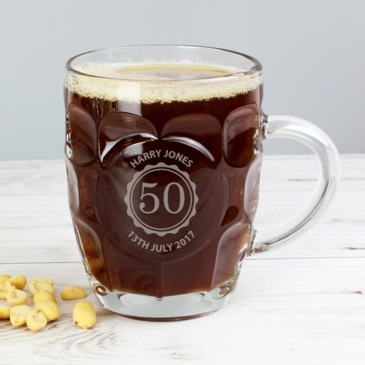 Hampers and Gifts to the UK - Send the Personalised Classic Pub Style Birthday Glass Beer Tankard