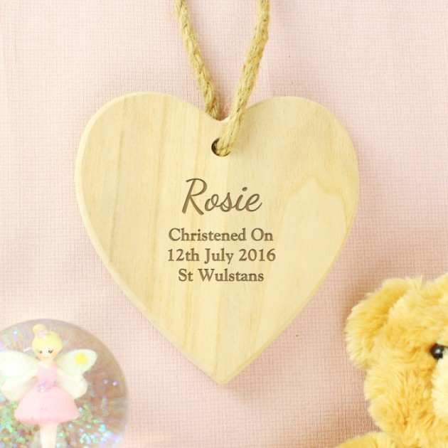 Hampers and Gifts to the UK - Send the Personalised Christening Heart Decoration