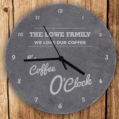 Hampers and Gifts to the UK - Send the Personalised Coffee O'Clock Slate Clock