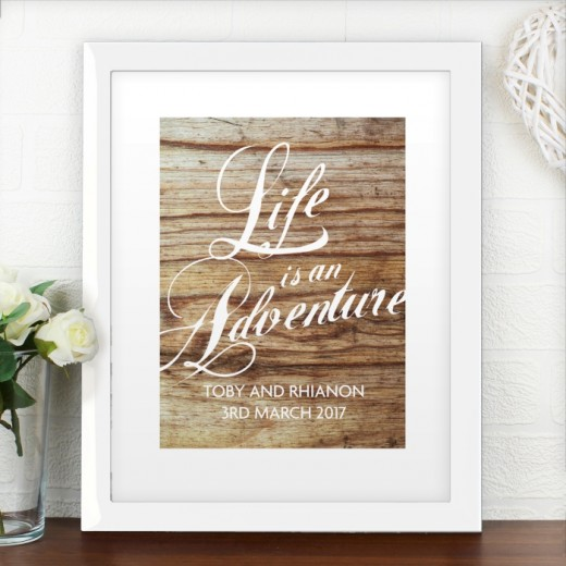 Hampers and Gifts to the UK - Send the Personalised Life is an Adventure Poster Frame