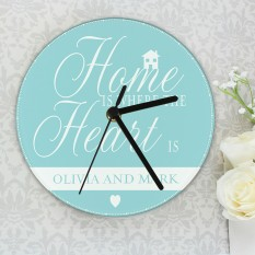 Hampers and Gifts to the UK - Send the Personalised Home is Where... Clock