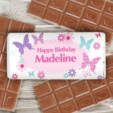 Hampers and Gifts to the UK - Send the Personalised Happy Birthday Butterflies Chocolate Bar