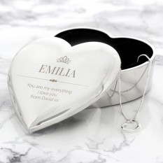 Hampers and Gifts to the UK - Send the Personalised Elegant Trinket Box and Heart Necklace Set