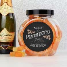 Hampers and Gifts to the UK - Send the Personalised Sweet Jar - Birthday Prosecco Gummies