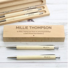Personalised Classic Wooden Pen and Pencil Gift Set